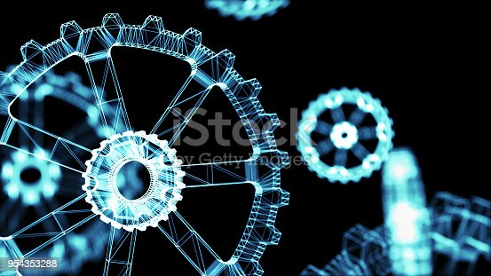 istock Industrial 4.0 Cyber Physical Systems concept . Wireframe Gears with black background. 3d rendering. 954353288