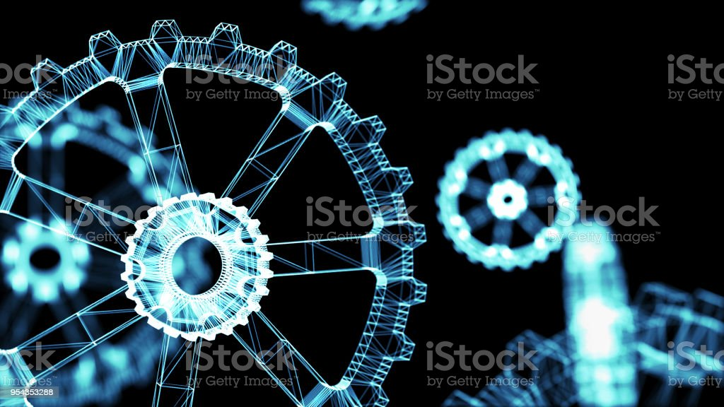 Industrial 4.0 Cyber Physical Systems concept . Wireframe Gears with black background. 3d rendering. stock photo