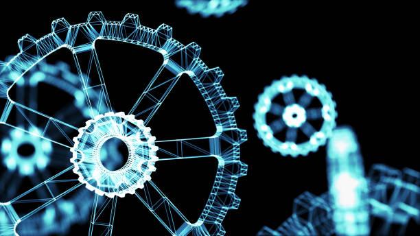 Concepto de sistemas físicos Cyber 4.0 industrial. Engranajes de estructura metálica con fondo negro. Render 3D. - foto de stock
