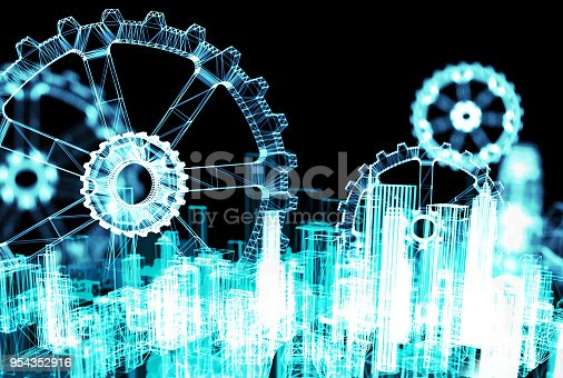 istock Industrial 4.0 Cyber Physical Systems , smart city , gird technology concept . Wireframe Gears with black background. 3d rendering. 954352916