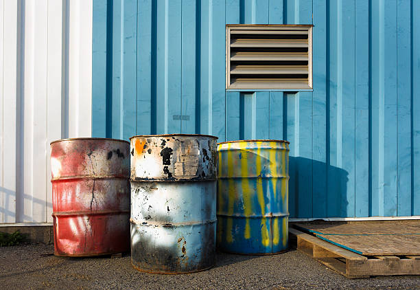industrial 55 gallon drums stock photo