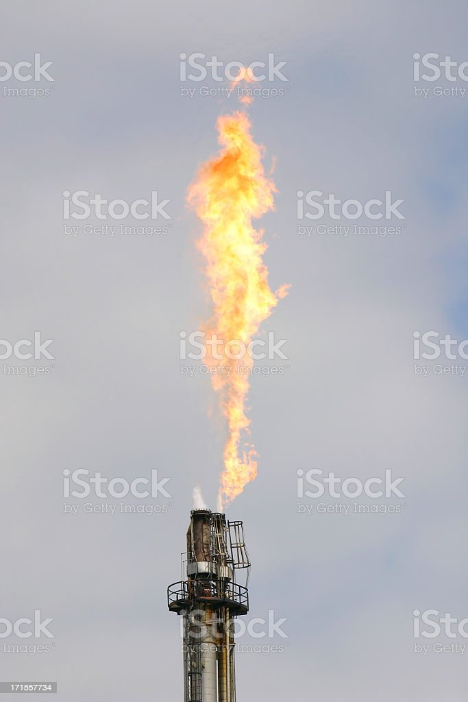 Industrial 8 with fire coming out royalty-free stock photo