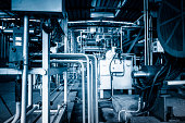 Industrial abstract---details of factory machine. blue toned image...........