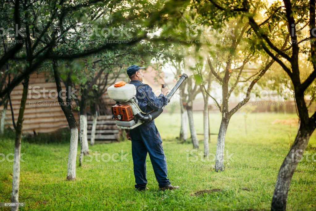 Industrial agricultural details - farmer spraying pesticides and substances for local plant treatments stock photo