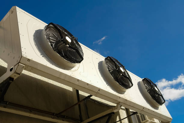 Industrial air conditioning system on the wall outdoors stock photo