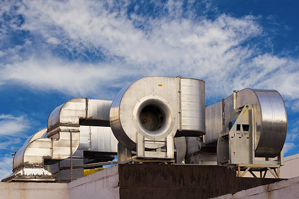 Industrial air conditioning system stock photo
