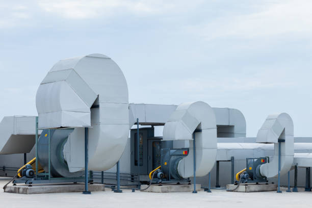 industrial air conditioning units on a rooftop - sport set competition round stock photos and pictures