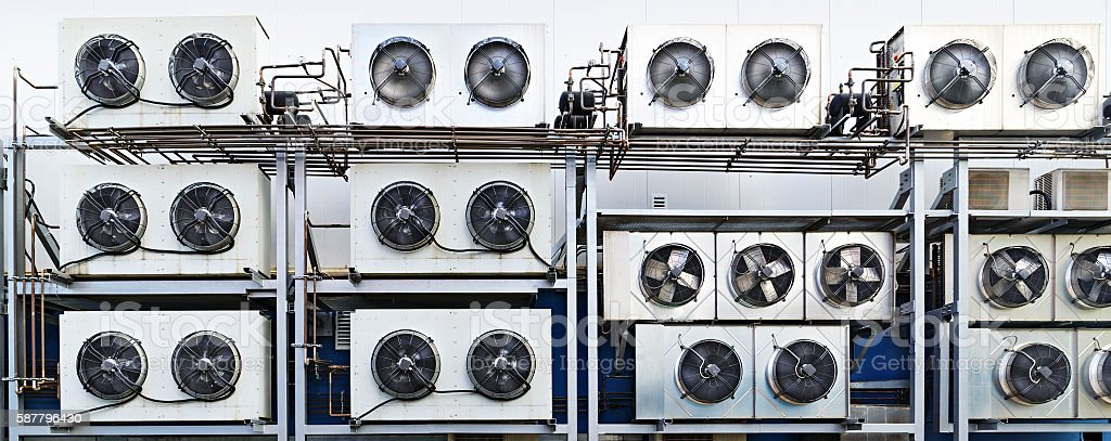 Industrial air conditioning units. stock photo