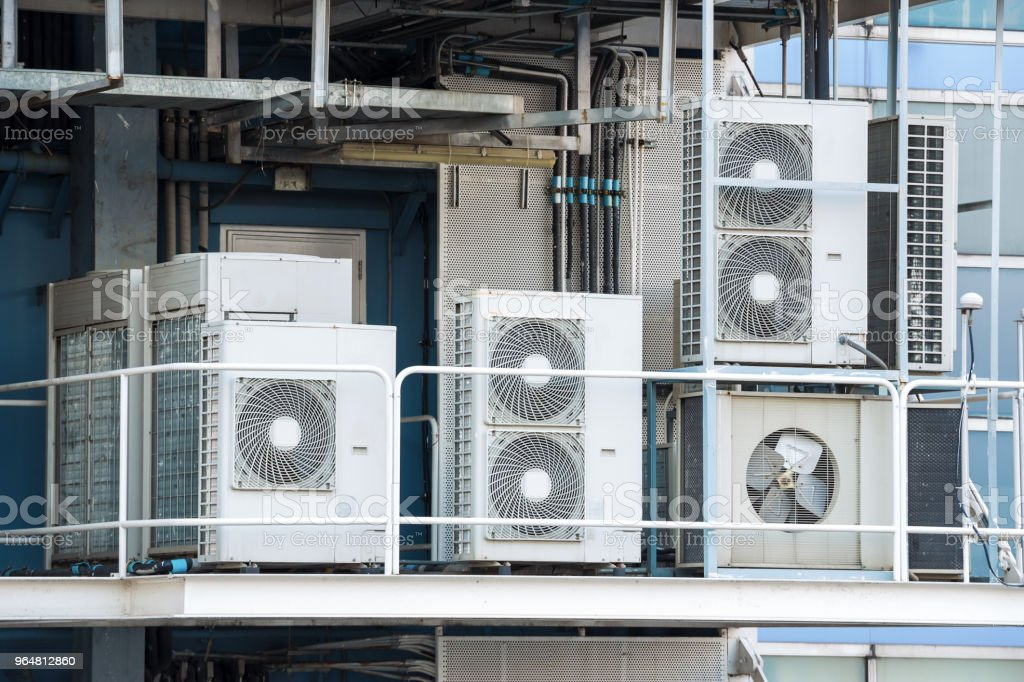 Industrial air cooled condenser was installed on the factory balcony. royalty-free stock photo