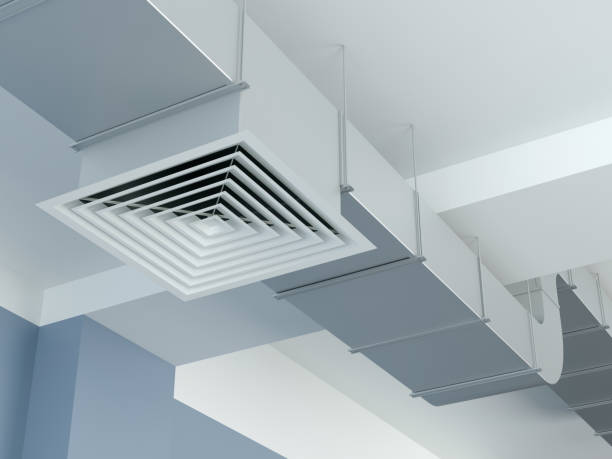Industrial air duct ventilation, 3d Illustration stock photo