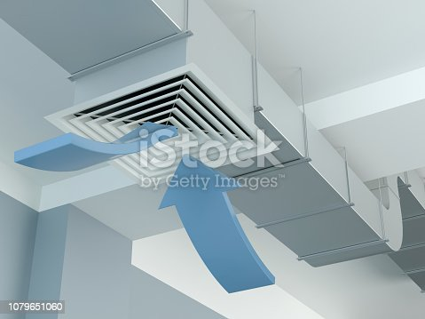 istock Industrial air duct ventilation - arrows, 3d Illustration 1079651060
