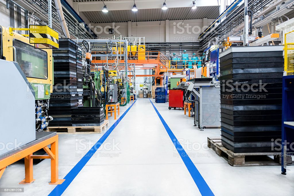 Industrial aisle with dividing line stock photo