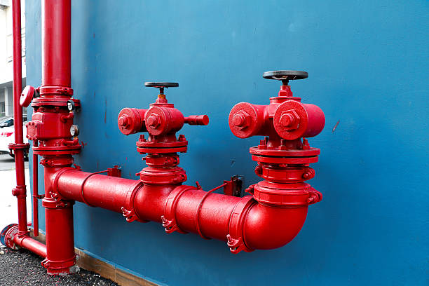 Industrial and building fire extinguishing system, stock photo