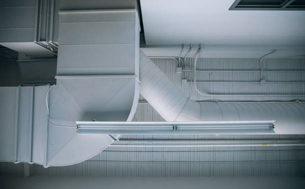 Industrial and commercial air duct view from below stock photo