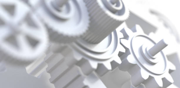 Industrial and engineering abstract background.3d illustration Teamwork and cooperation concept.Group of mechanisms and gears gearshift stock pictures, royalty-free photos & images
