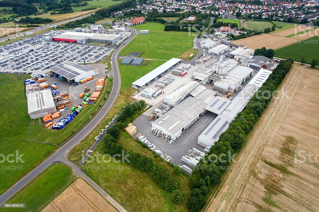 Industrial area and factory, aerial view stock photo