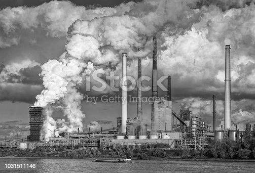 Industrial area at Rhine river close to Oberhausen-Duisburg (Steel mill Thyssen Krupp), North Rhine Westphalia, Germany. Black and white development (RGB-file).
