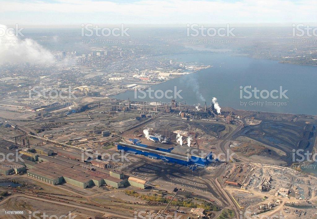 industrial area Hamilton, aerial stock photo