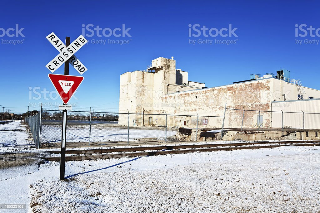 Industrial area in Winter. Riverdale, Chicago royalty-free stock photo