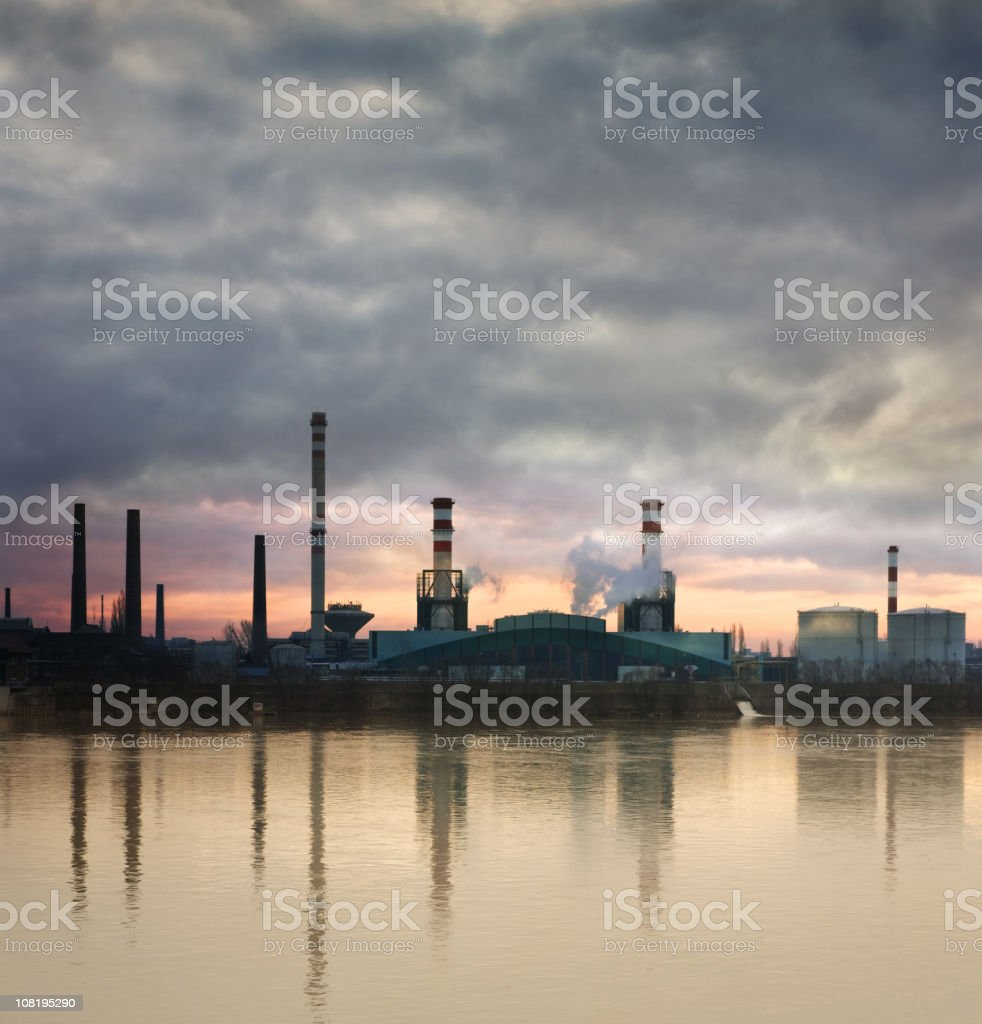 Industrial Area on river shore royalty-free stock photo