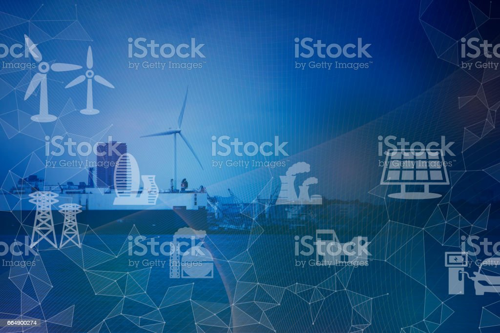 Industrial area on the coast, smart energy, smart grid, abstract image visual stock photo