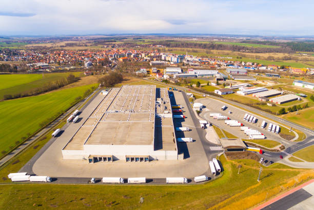 Industrial area , warehouses from above. Pilsen, Czech Republic. stock photo