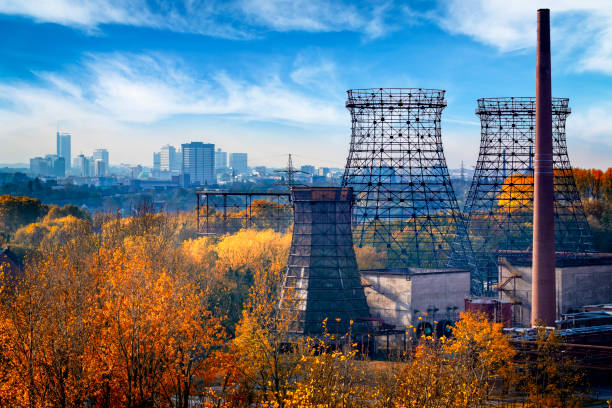 Industrial autumn landscape in the Ruhr, Essen, Germany stock photo