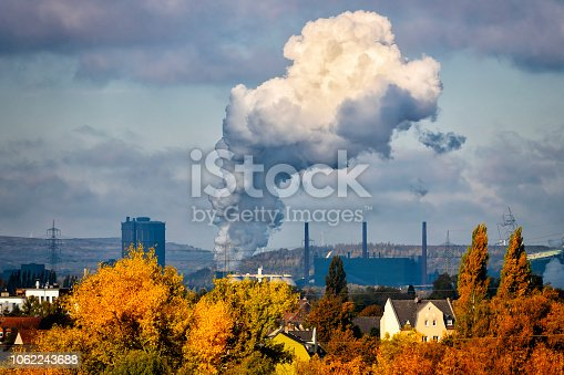 Industrial autumn landscape in the Ruhr, Essen, Germany