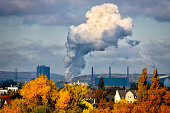 Industrial autumn landscape in the Ruhr, Germany