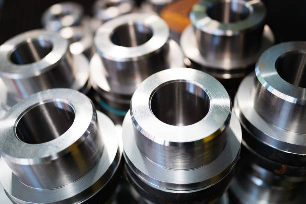 Industrial background from metal parts produced in metal industry stock photo