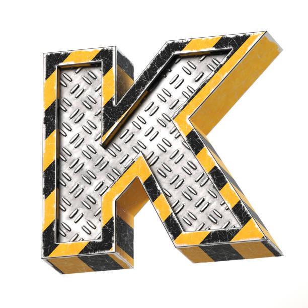 Industrial black and yellow striped metallic font, 3d rendering, letter K Industrial black and yellow striped metallic font, 3d rendering, letter K k icon stock pictures, royalty-free photos & images