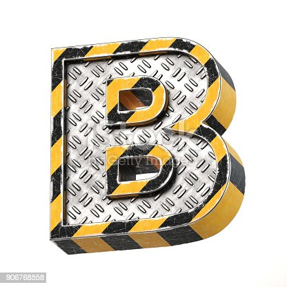845304606 istock photo Industrial black and yellow striped metallic font, 3d rendering, letter B 906768558