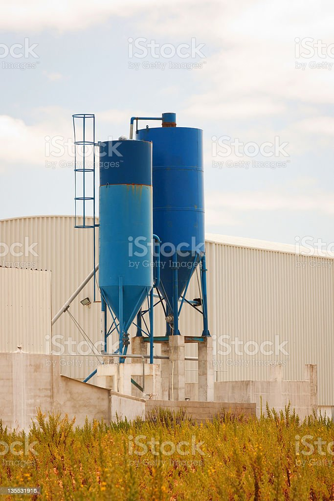 Industrial Blue Silos royalty-free stock photo