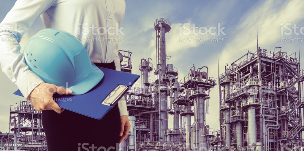 industrial building and woman engineer.