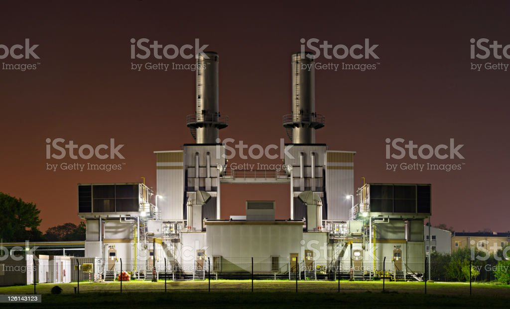 Industrial Building At Night stock photo