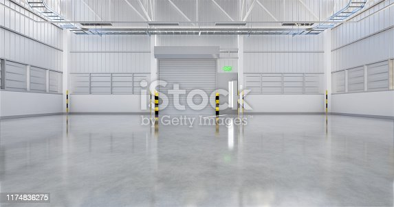 3D rendering of factory or warehouse building with concrete floor and shutter door for industrial background.