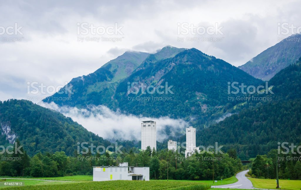 Industrial building in Boltigen at Jaun Pass in Fribourg Switzerland stock photo
