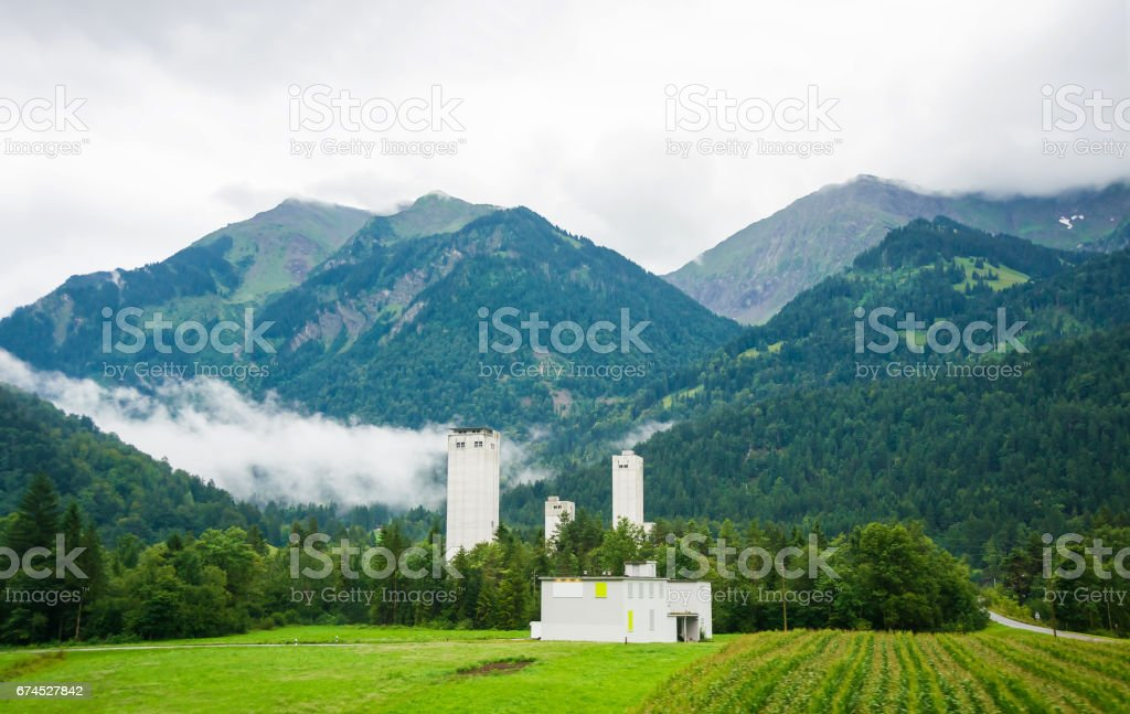 Industrial building in Boltigen at Jaun Pass of Fribourg Switzerland stock photo