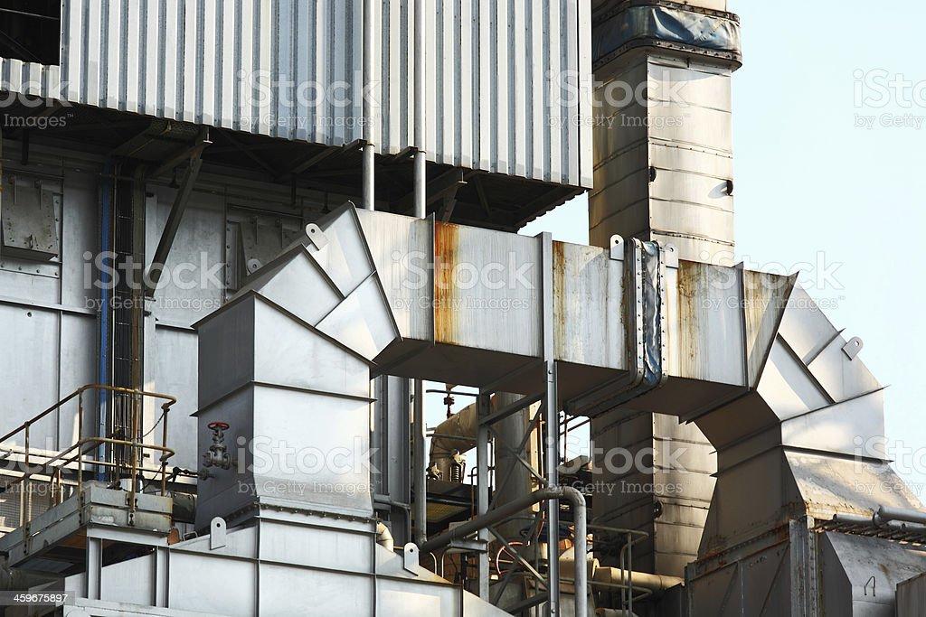 Industrial building, Steel pipeline royalty-free stock photo
