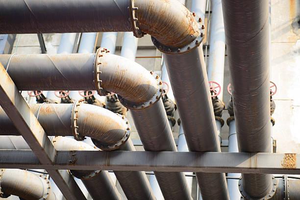 Industriegebäude, Stahl pipelines – Foto