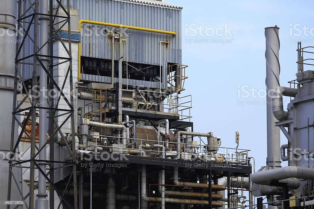 Industrial building, Steel pipelines royalty-free stock photo