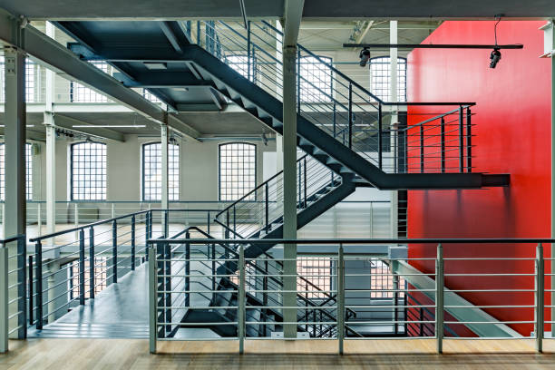 Industrial building with red wall stock photo