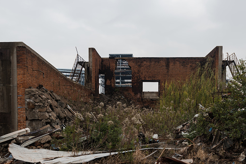 Industrial buildings in an abandoned factory