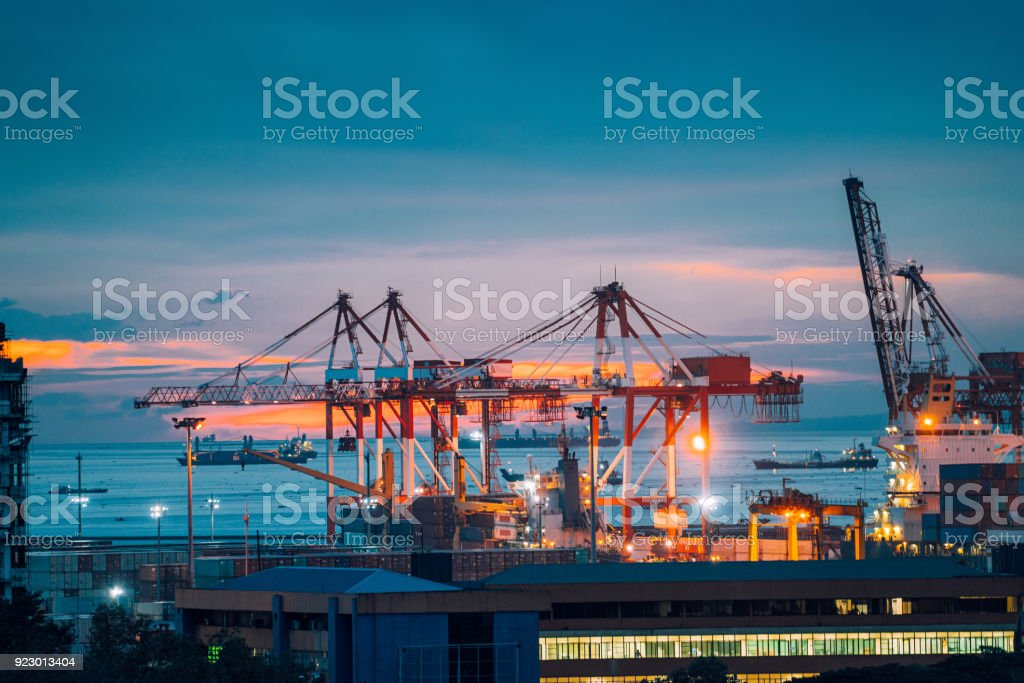Industrial cargo cranes in Manila bay, Philippines stock photo