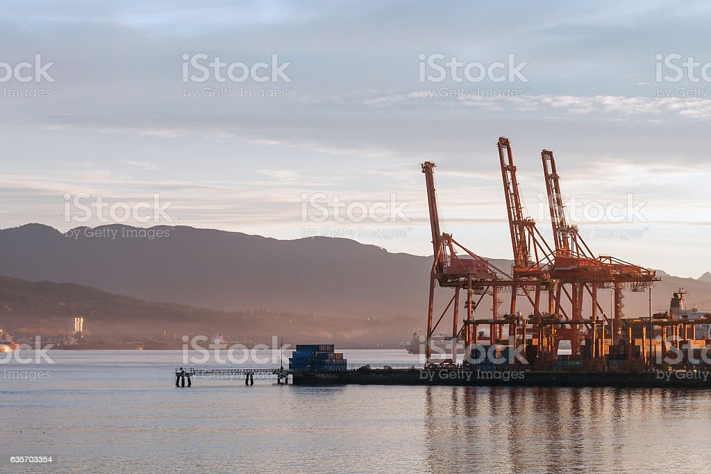 Industrial Cargo Terminal at Dawn, Vancouver Harbour, BC, Canada royalty-free stock photo