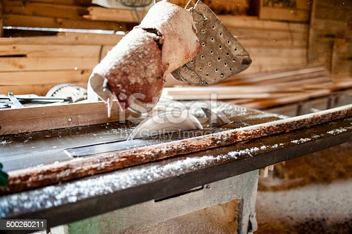 industrial circular saw in  wood production factory