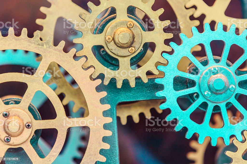 Industrial clock gear set background stock photo