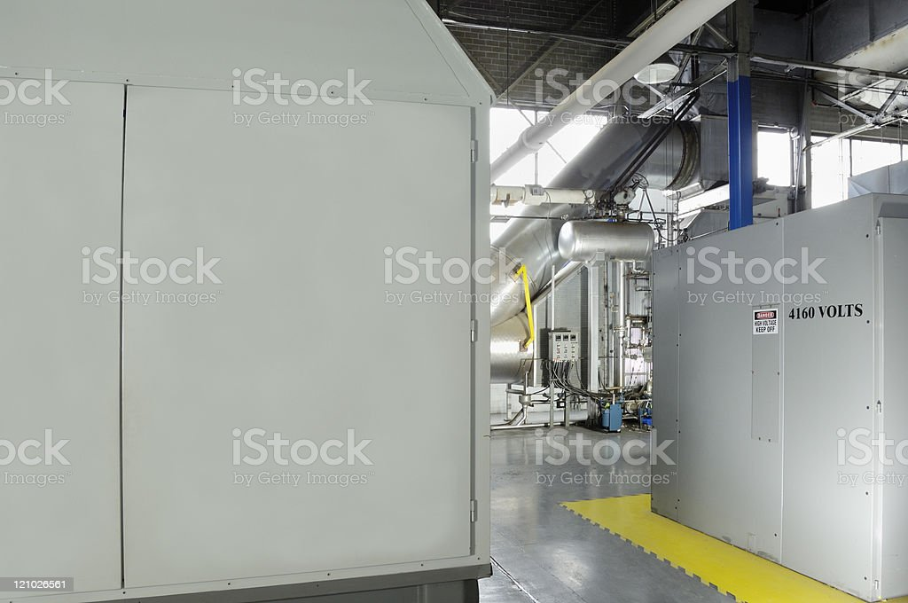 Industrial cogeneration equipment facility stock photo