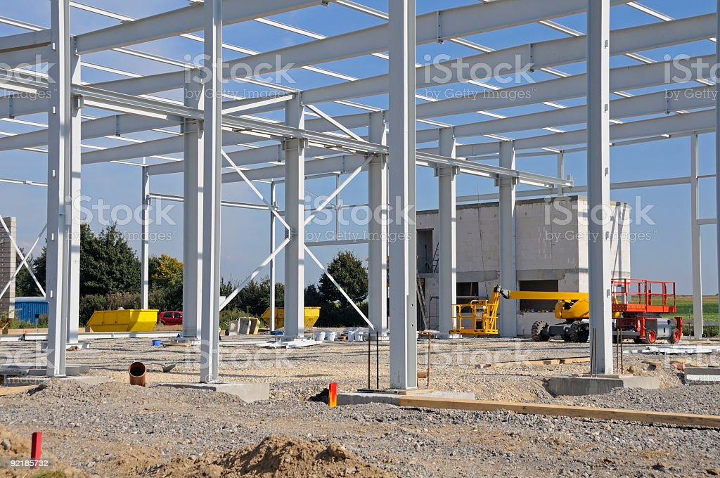 Industrial construction site metal frame building factory royalty-free stock photo