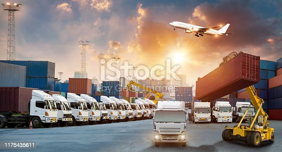istock Industrial Container Cargo freight ship, forklift handling container box loading for logistic import export and transport industry concept backgroundtransport industry background 1175435611